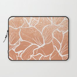 Modern copper tan terracotta glitter ombre color block white floral pattern illustration Laptop Sleeve
