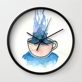 Space, tea, ocean Wall Clock