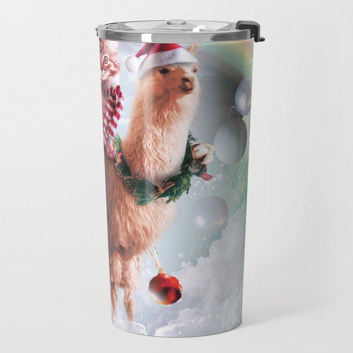 Christmas Rainbow Llama - Cat Llama Travel Mug