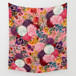 Floral Pink Pattern Wall Tapestry