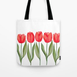 Red Spring Tulips Watercolor Flowers Tote Bag