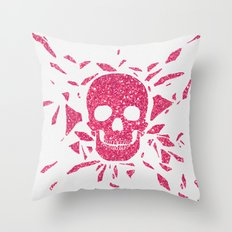 Girly Pink Glitter Abstract Skull Cool Photo Print Throw Pillow