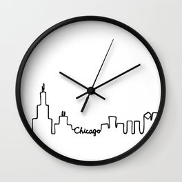 Chicago Skyline Abstract Sketch Wall Clock