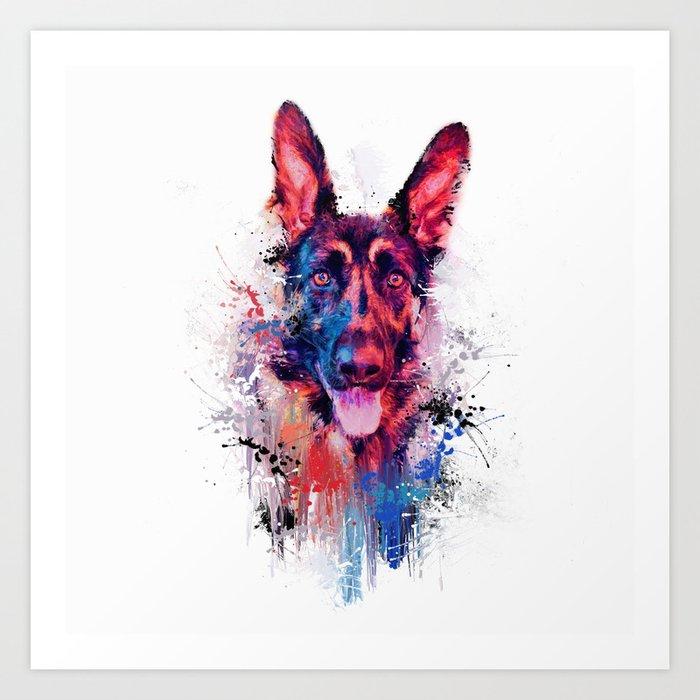 Drippy Jazzy German Shepherd Colorful Dog Art By Jai