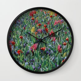 Field full with colored flowers. Nature photography. Floral art. Keukenhof the Netherlands. Wall Clock