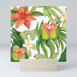 Lovebird tropical flower watercolor art Mini Art Print