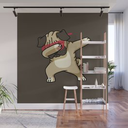 Dabbing Pug Wall Mural