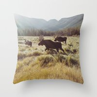 sunrise Throw Pillows featuring Three Meadow Moose by Kevin Russ