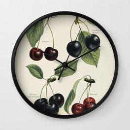 Vintage Cherries Illustration  Wall Clock