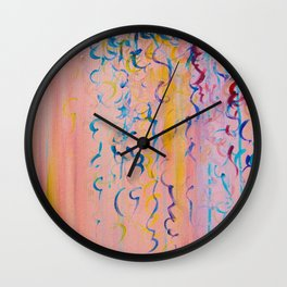 COTTON CANDY WHISPERS - Lovely Pretty in Pink Colorful Rainbow Ribbons Abstract Fine Art Painting Wall Clock