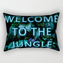 Welcome to the Jungle - Neon Typography Rectangular Pillow
