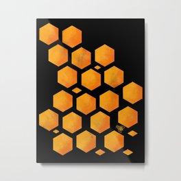 Bee in a Honeycomb Metal Print