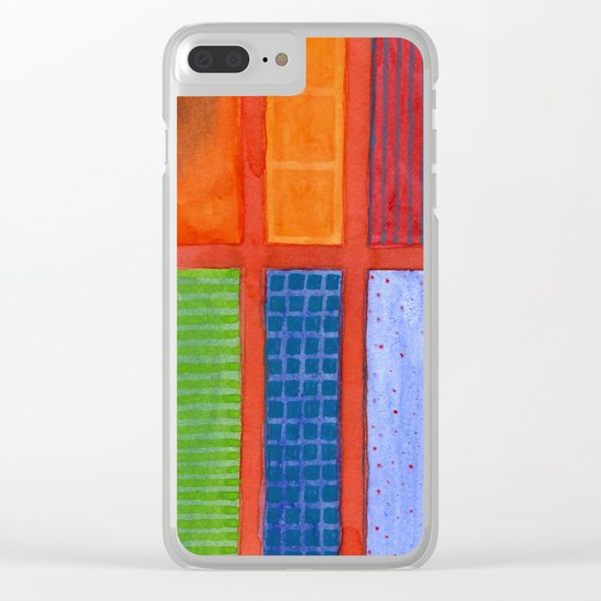 Large rectangle Fields between red Grid Clear iPhone Case