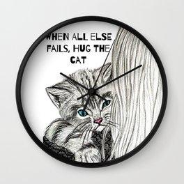 Hug the cat Wall Clock