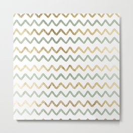 Chic blush green faux gold zigzag chevron Metal Print