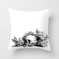 hamlet Throw Pillows featuring Hamlet Skull by Alex Moon