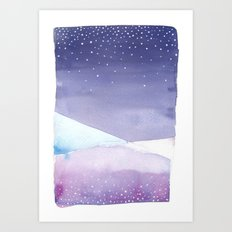 Snowy Landscape Abstract Art Print