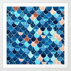 REALLY MERMAID BLUE & GOLD Art Print