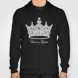 County of Queens | NYC Borough Crown (WHITE) Hoody
