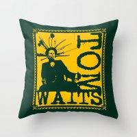 tom waits Throw Pillows featuring Tom Waits by Silvio Ledbetter