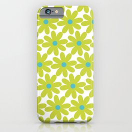 Cheerful Springtime Flowers Floral Pattern in Lime Green and Turquoise on White iPhone Case