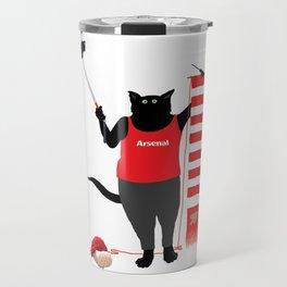 1021 Knitting Cat - Arsenal Fan Scarf Travel Mug