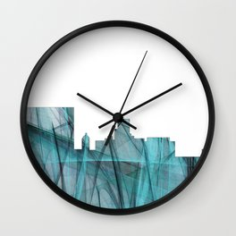 Augusta, Georgia Skyline - Turquoise Storm Wall Clock