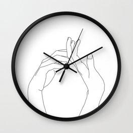 Hands line drawing illustration - Abi Wall Clock