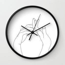 Hands line drawing illustration - Abi Wall Clock
