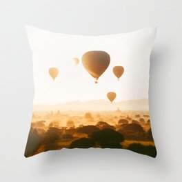 Hot-Air Balloons Flying Over Bagan Pagodas in Myanmar (Burma) Throw Pillow