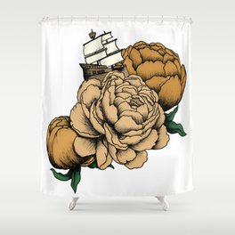 Sailing a Sea of Peonies - Vintage Yellow Shower Curtain