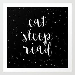 Eat, Sleep, Read (Stars) Art Print