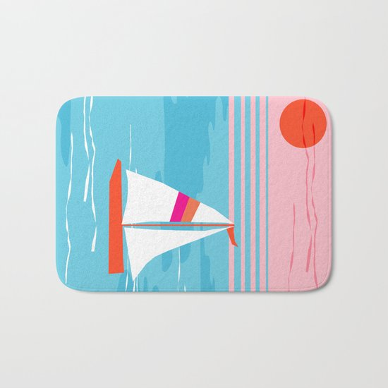 Mellow Out - memphis throwback retro classic neon yacht boating sailboat ocean sea 1980s 80s pop art Bath Mat