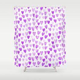 Watercolor Hearts purple pantone love pattern design minimal modern valentines day Shower Curtain