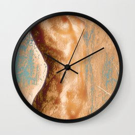 Gold Rust, Nude Sexy Woman Naked Erotic Photo Art Print Wall Clock