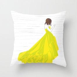 Yellow Dress Fashion Girl Texting Throw Pillow