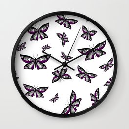 Fly With Pride: Asexual Flag Butterfly Wall Clock