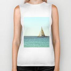 Sail Away with Me - Ocean, Sea, Blue Sky and Summer Sun Biker Tank