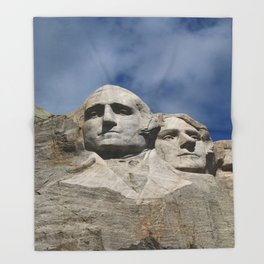 George Washington And Thomas Jefferson  - Mount Rushmore Throw Blanket