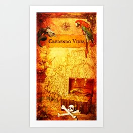 Credendo Vides Old Pirate Map Art Print