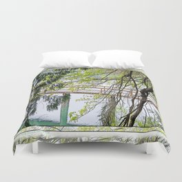 RAINY SPRING DAY AT THE DOCK IN THE WOODS Duvet Cover