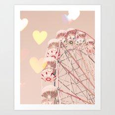 Ferris wheel nursery and heart bokeh on pale pink Art Print