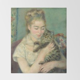 Woman with a Cat Oil Painting by Auguste Renoir Throw Blanket