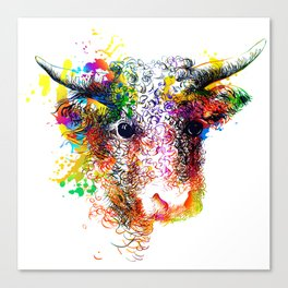 Hand drawn bull, cow, bison, buffalo head face portrait with horns. Colorful cattle painting sketch Canvas Print