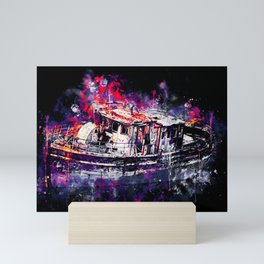 old ship boat wreck ws fn Mini Art Print