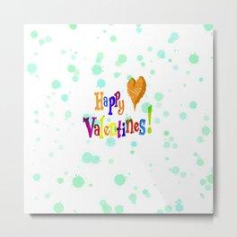Happy Valentines, aqua Metal Print