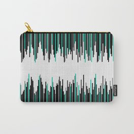 Frequency Line, Vertical Staggered Black, Gray & Teal Line Digital Illustration Carry-All Pouch