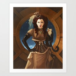 """Capuchin"" Steampunk Pin-Up Art Print"