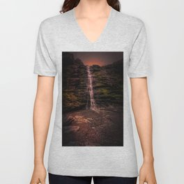 Tintagel beach waterfall Unisex V-Neck