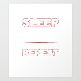 Eat Sleep Barbell Repeat Workout Weightlifters Bodybuilding Weightlifting Gift Art Print